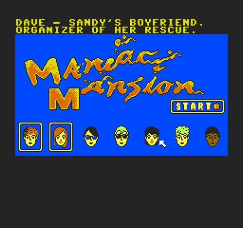 Maniac Mansion character selection