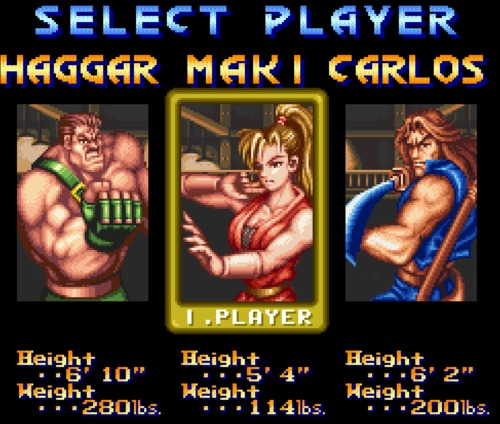 Final Fight 2 character selection