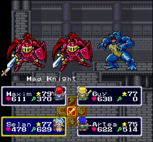 Lufia & the Fortress of Doom fighting gameplay