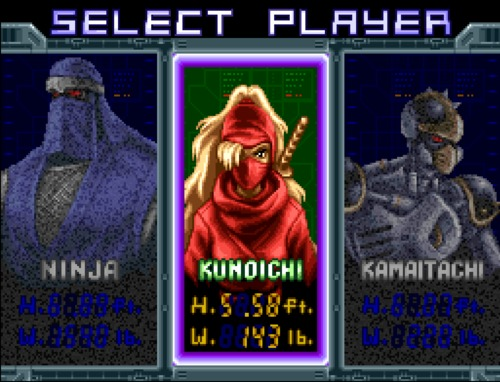 The Ninja Warriors character selection